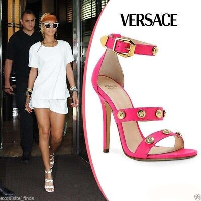 VERSACE Hot pink  SIGNATURE GOLD MEDUSA STUDDED SHOES 41