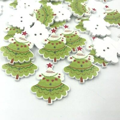 DIY 50X Wooden Christmas Tree Button decoration holiday Sewing Scrapbooking 35mm - Christmas Tree Costume Diy