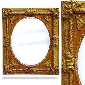 spiegel gro er goldener rahmen holz mit widderh rner barockstil salonspiegel ebay. Black Bedroom Furniture Sets. Home Design Ideas