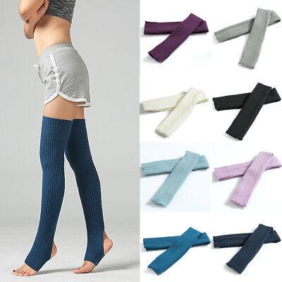 Women Long Socks Winter Knit Over Knee Thigh High Yoga Leggings Solid Leg Warmer (Winter Knee Warmer)