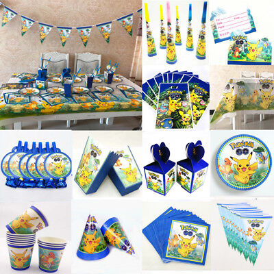 Pokemon Kids Birthday Party Supplies Favor Tableware Decor cup Plate Banner Hat