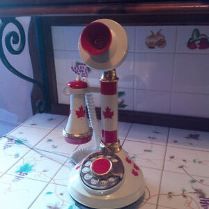 Vintage rotary phone - with Canadian Flags