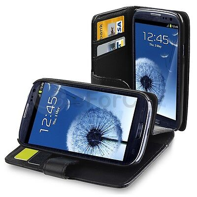 NEW BLACK Wallet PU Leather Case Flip Cover FOR SAMSUNG Galaxy S3 i9300 S III on Rummage