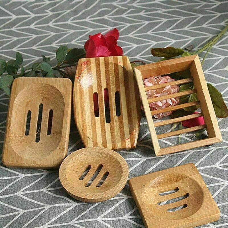 Natural Bamboo Wood Bathroom Shower Soap Tray Dish Storage Holder Mbyss nwu