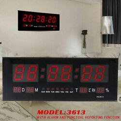 Digital Large Big Jumbo Red LED Wall Desk Alarm Clock W/ Calendar Temperature US