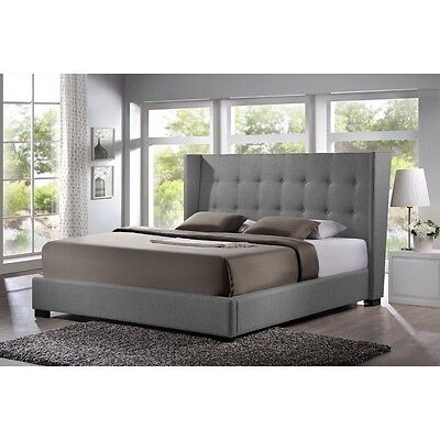 Favela Gray Linen Modern Bed with Upholstered Headboard - King Size NEW