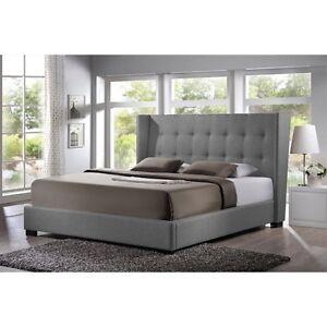 favela gray linen modern bed with upholstered headboard king size new - Modern King Bed Frame