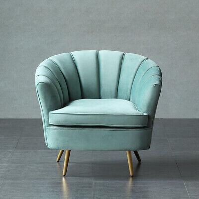 Occasional Velvet Armchair Cocktail Chair Brass Legs Tiffanies Blue Sofa Vintage