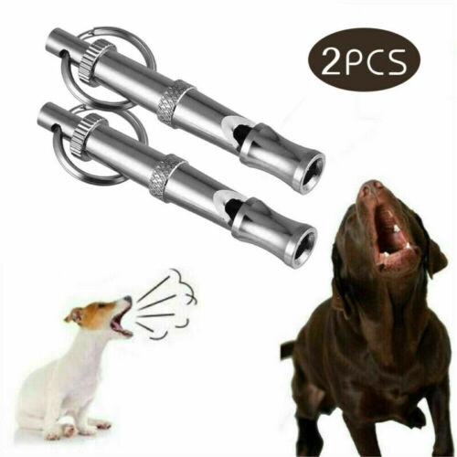 2 PCS SET Pet Dog Training Whistle Dog Supplies Silver