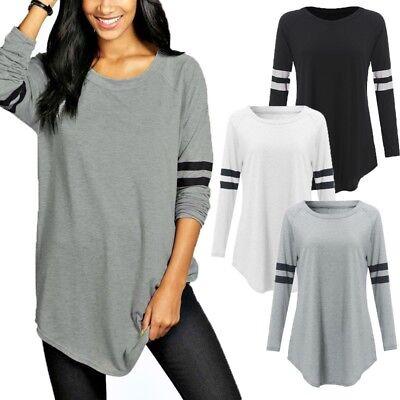 Women Long Sleeve Casual Baseball Shirt Basic T-shirt Top Plus Size Blouse Tee