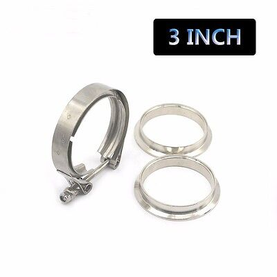 """3"""" Stainless Steel V-Band Flange & Clamp Kit Male/Female for Exhaust Downpipes"""