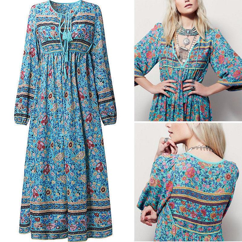 Damen Boho Hippie Sommerkleid Strandkleid Quasten Maxikleid Langarm  Partykleid  41757f2408