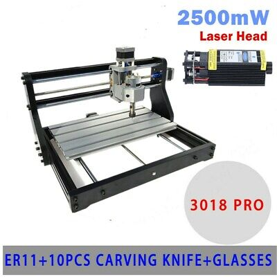 3018 Cnc Machine Router 3axis Engraver Pcb Wood Carving Diy Milling 2500mw Laser