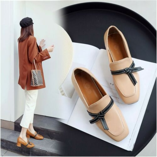 Womens Bowknot Mid Heel Slip On Pumps Square Toe Casual Loafers Shoes OL Vogue