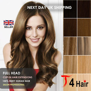 Thick-Deluxe-Standard-Clip-In-Remy-100-Real-Human-Hair-Extensions-Full-Head