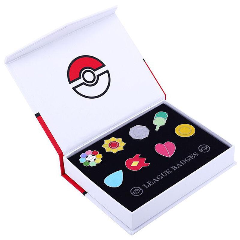 Cosplay Pokemon: Kanto League Gym Badges Set of 8 Metal Pins Gen 1 Brooch + Box