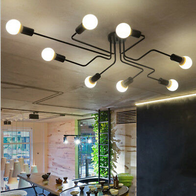 Vintage Industrial Semi Flush Mount Ceiling Light Fixture Steampunk Chandelier -