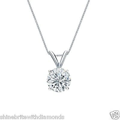 "2 Ct Round Brilliant Cut Solid 14k White Gold Solitaire Pendant 18"" Necklace"
