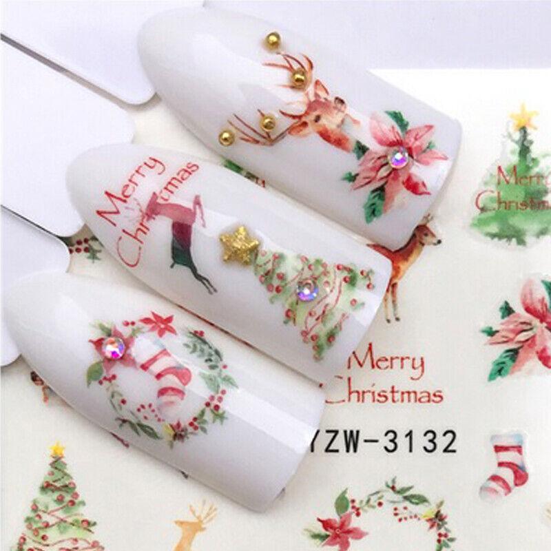 Nail Art Nagel Sticker Wasser Transfer Tattoo Reh Hirsch Weihnachten YZW3132