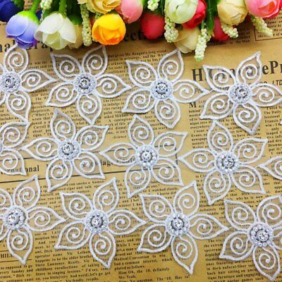20x Diamond Flower Chiffon Lace Trim Embroidered Ribbon Lace Fabric Sewing Craft Diamond Trim