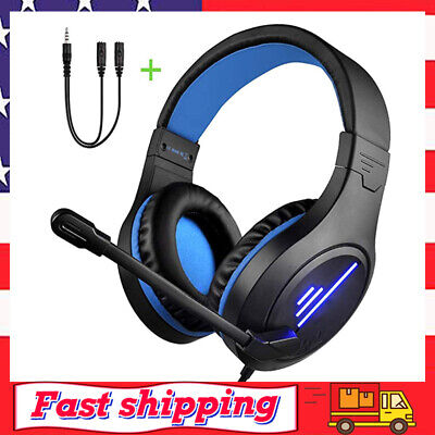 Gaming Headset for PS4/Xbox One/PC 50mm Hi-Res w/ Noise Cancelling Mic&LED light