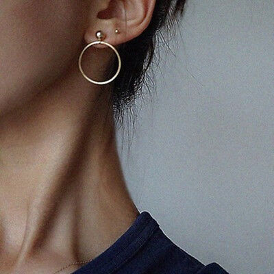 (Fashion Women Gold Silver Plated Big Circle Smooth Large Ring Ear Hoop Earrings)