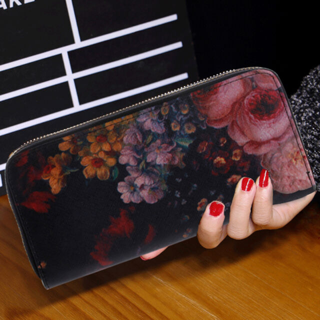 Women Lady Leather Zipper Wallet Purse Long Handbag Clutch Bag Phone Card Holder