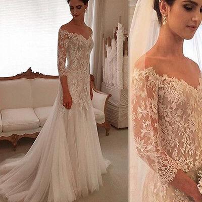 Sheath Off Shoulder Wedding Dresses Bridal Gowns Lace Applique Tulle 3/4 Sleeve
