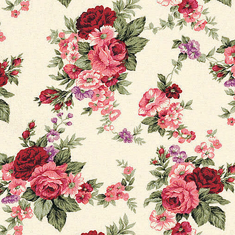 Antique Floral: Canvas Heavy Upholstery Fabric Antique Rose Floral Red