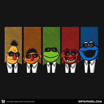 MUPPETS Kermit Animal Cookie Monster Bert Ernie Reservoir Dogs Mens T-Shirt MED