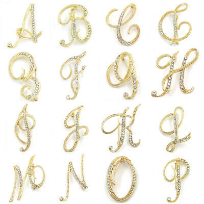 Crystal Alphabet (26 Alphabet Letters Rhinestone Crystal Wedding Bridal Bouquet Brooch Pin Jewelry)