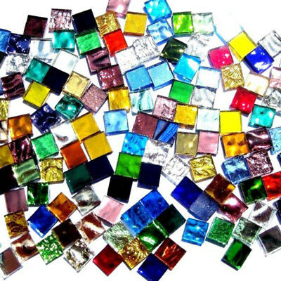 Mosaic Tiles For Crafts (100g Tiles Mosaic Stained Glass Pieces Colored 1X1 For Art Craft Bulk DIY)