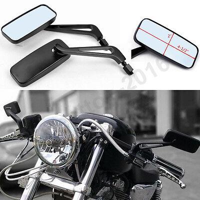 BLACK MOTORCYCLE REARVIEW MIRRORS FOR HONDA SUZUKI CHOPPER BOBBER CRUISER 8-10MM