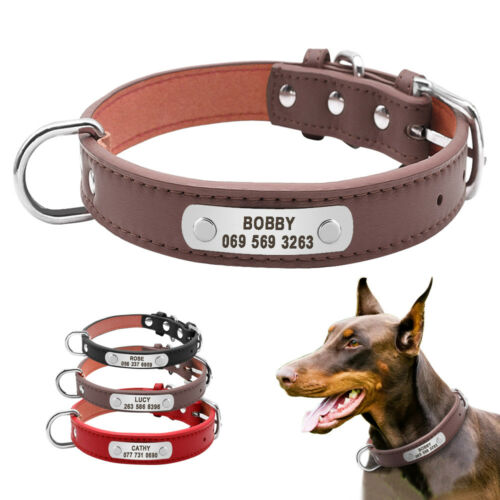 Personalized Dog Collars Leather Pet ID Collar Name Engraved