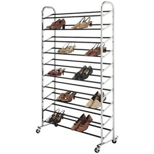 Whitmor 50 Pair Rolling Shoe Rack, New