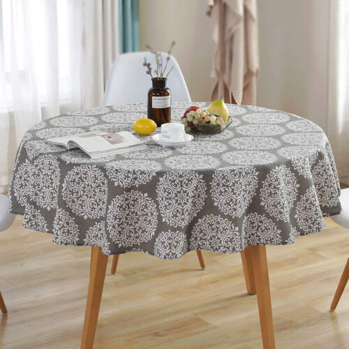 Dinner Table Round Grey Retro Kitchen Tablecloth Waterproof