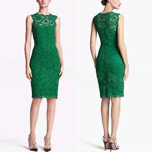 Womens Lace Sleeveless Slim Party Office Evening Tunic Mini Green Black Dress