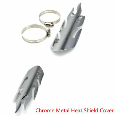 PLATED FLAME MOTORCYCLE EXHAUST MUFFLER HEAT PIPE SHIELD PROTECTOR COV