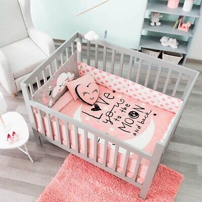 LITTLE MOON BABY GIRLS CRIB BEDDING SET NURSERY 6 PCS 100% COTTON