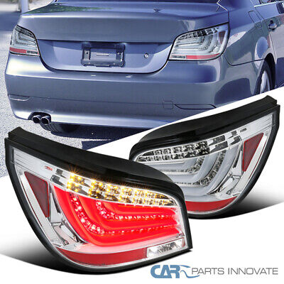 Fit 04-07 BMW E60 5-Series 4Dr Clear LED Bar Tail Lights Brake Parking Lamps