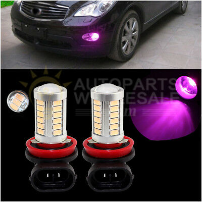 2× Purple Pink H11 H8 33SMD 5730Chip LED Lens Bulbs For Car Driving Fog Lights