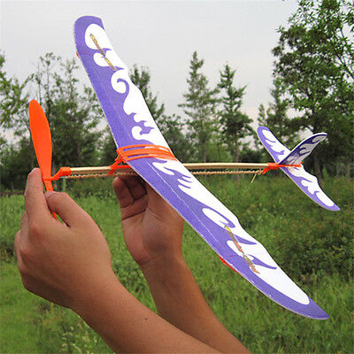 Glider Rubber Band Elastic Powered Flying Plane Airplane Fun Model Kid Toy - Glider Flying