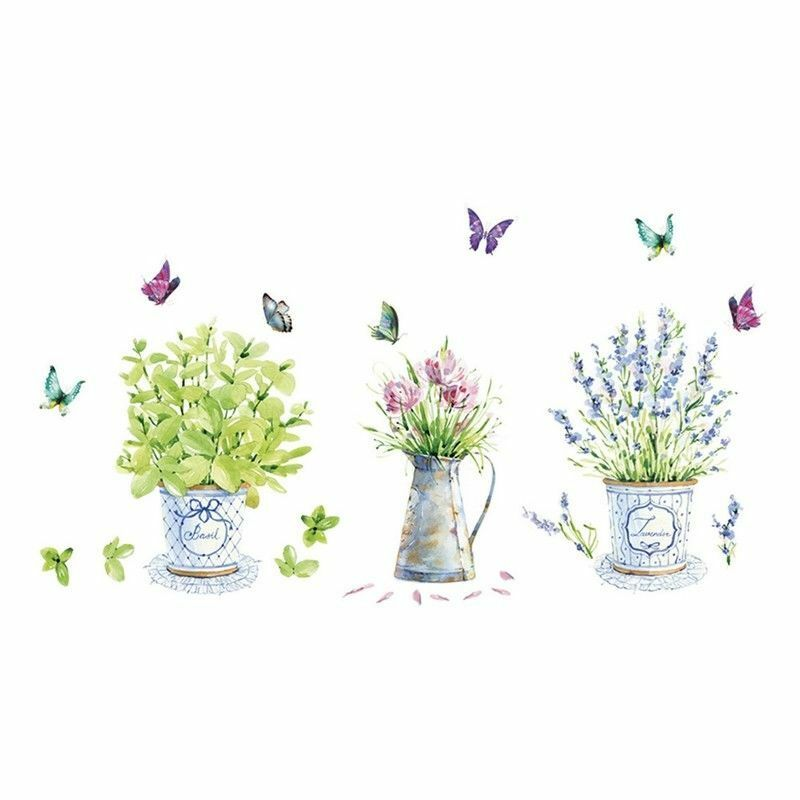 Home Decoration - Wall Stickers Potted Flower Pot Kitchen  Bathroom Stickers Waterproof Gift