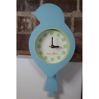 - Time Flies Blue Bird Wall Clock Child Room Decor Battery Operated 6361 NIB
