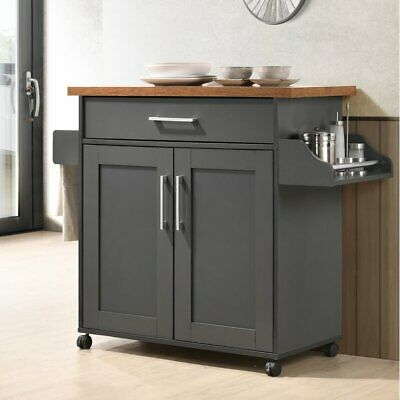Gray Oak Kitchen Trolley Cart Island Wheel Storage Prep Table Utility Cabinet