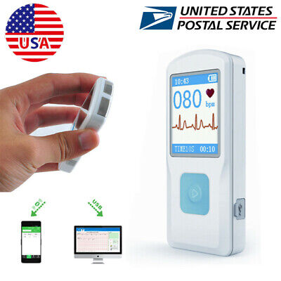 Usa Portable Ecg Machine Heart Beat Monitor Bluetooth Color Lcd Usb Cable Pm10