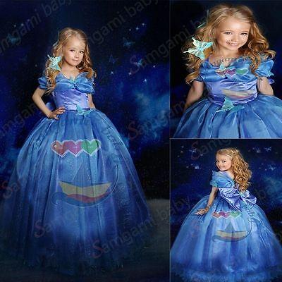 2015 Blue Cinderella Dress Cinderella Costume with Butterfly Bowknot  - Costume With Blue Dress