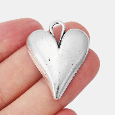 Abstract Heart Necklace - 5x Tibetan Silver Tone Abstract Love Heart Pendant For Jewellery Necklace Making
