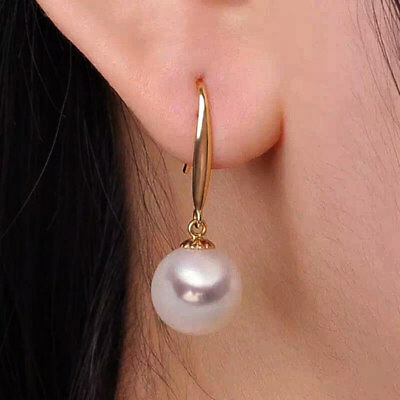 "Dainty 14k F 10mm White South Sea Shell Pearl Gold 1""  Dangle Earrings"