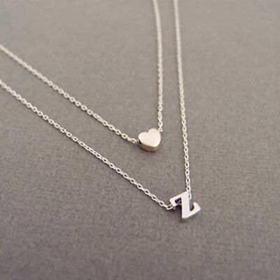 A_Z Letters Heart Initial Name Double layer Necklace Jewelry girl friend gift - Girls Heart Necklace